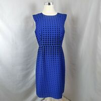 ANN TAYLOR LOFT Colbat Blue Polka Dot SHEATH DRESS Size 10P Career Knee Length
