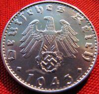 Nazi German 50 Reichspfennig 1943-B Genuine Coin Third Reich EAGLE SWASTIKA WWII