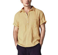 Men's Linen Short Sleeve Tee Shirt Summer V-neck Loose Casual Shirts Dress Tops