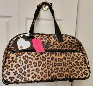 "Betsey Johnson LEOPARD Luggage Carry On OverNight 22"" Duffel Bag Wheel/Handle"