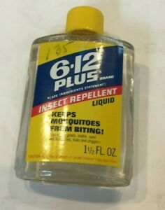 Vintage 6-12 Plus Insect Repellent Glass Advertising Bottle 1.5 oz Union Carbide