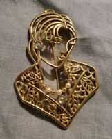 VINTAGE JONETTE JEWELRY JJ GOLDTONE BROOCH LADY LARGE STATEMENT OPENWORK RARE