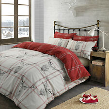 Dreamscene Check Stag Christmas Duvet Cover Set Red-double Polycotton 50 Grey