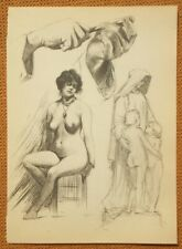 Antique Art deco nude study pencil lithograph engraving 1920's