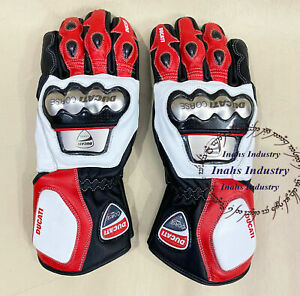 full Protected Ducati Top Quality Motorbike Original Leather Motorcycle Gloves