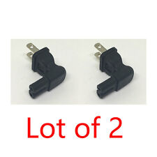 2X 2 Prong Right Angle AC power Plug adapter IEC C7 receptacle to NEMA 1-15P -US