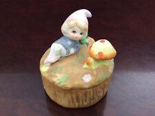 Homeco ceramic Elf Pixie mushroom trinket box *Vintage*