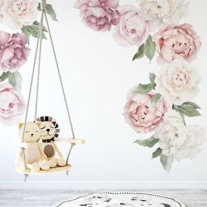 Individual Peony Rose Flower Wall Decal Nursery Home Kid Sticker Decor Art Mural
