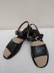 SALVATORE FERRAGAMO Made in Italy,Black Leather Women's Sandals,US Size8B