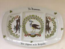 Porcelaine d'Auteuil France  Le Danneau Rabbit Bird 3 part Divided Serving Dish