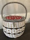 Vintage+Singer+Sewing+Basket+Fabric+Top+Round+Woven+Wicker+Made+in+Japan