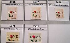 Love Letter and Rose Complete Set of 5 MNH Scott's 3496 3497 3498 3499 and 3551