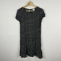 H&M Womens Dress AU 6 Black Textile Short Sleeve Round Neck