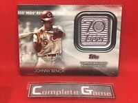 2021 Topps Series 1 Johnny Bench Commemorative 70th Anniversary Patch Relic Card
