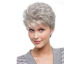 Women's Short Curly Wavy Silver Grey Wig Fashion Ladies Synthetic Hair Full Wigs