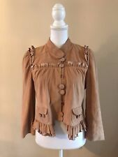 $600 Madison Marcus Soft Suede &Silk Ruffle Trim Leather Jacket~Tan/Camel~Medium