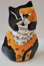 "New listing Decorative Ceramic Tabby Calico Cat Planter Vase Unique Home Decor ""Catitude"""