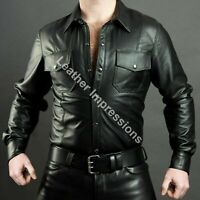 Attractive Men's Boys Hot Police Uniform Shirt Genuine Soft Lambskin Leather