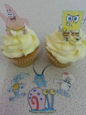 12 PRECUT Edible Spongebob wafer/rice paper cake/cupcake toppers