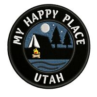 """Utah My Happy Place Camping 3.5"""" Embroidered Iron / Sew-on Patch Gear Applique"""