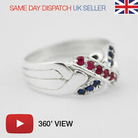 Puzzle Ring - 4 Bands Sterling Silver 925 Ruby & Sapphire Gems (PLAY 360' VIDEO)