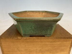 """Beautiful Green Glazed  Tokoname Bonsai Tree Pot By Yamafusa 9 1/2"""""""