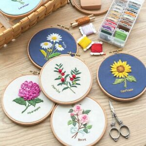 ❤DIY Embroidery Kit Flower Pattern Cross Stitch Needlework With Hoop For Beginne