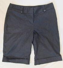 Apostrophe stretch cotton BLACK long cuffed dress shorts 10 *FREE SHIPPING* Nice