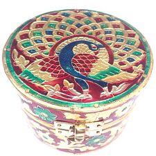 Fancy Redonda De Madera Caja De Regalo Joyas De Diseño De Pavo real Indio Hecho a Mano 10cm X 7cm