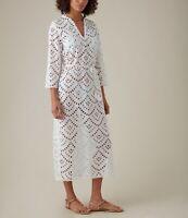 Beautiful Crochet Karen Millen White Kaftan Cotton Dress Size M 10/12