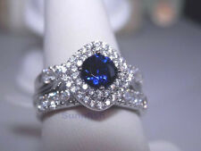 925 STERLING SILVER SIMULATED BLUE SAPPHIRE HALO 3 RING SET SIZE 9