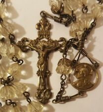 """VINTAGE TO ANTIQUE ROSARY GLASS BEADS 25"""" (R42)"""