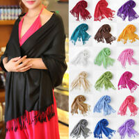 Fashion Lady Girls Warm Soft Cashmere Silk Solid Long Pashmina Shawl Wrap Scarf