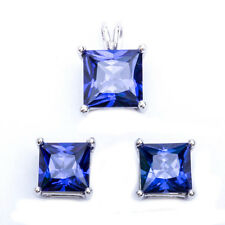 Princess Cut Tanzanite .925 Sterling Silver Earring & Pendant Jewelry set