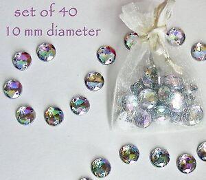 Crystal Rhinestones Sparkly Rainbow Gems 10mm Sew On Craft 40 Round Flat Back