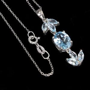 Oval Sky Blue Topaz 10x8mm 14K White Gold Plate 925 Sterling Silver Necklace