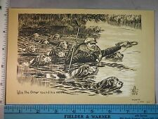 Rare Antique Orig VTG c1900 w The Otter Round His Neck Hunting Litho Art Print