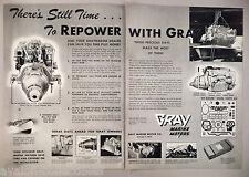 Gray Marine Boat Engine Motor 2-Page PRINT AD - 1948 ~~ Graymarine