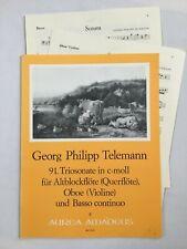 Noten. Telemann. 91. Triosonate in c-moll.   Partitur und Stimmen.