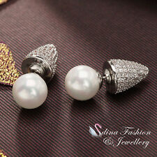 18K White Gold Plated Pearl Diamond Punk Double Faced Stud Earrings 2 Ways Wear