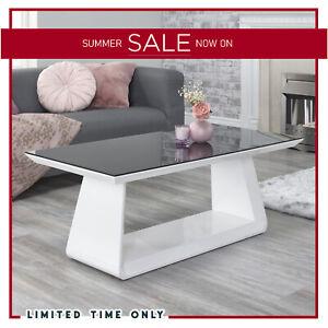 High Gloss Designer White Black Glass Modern Rectangle Coffee Side Table Living