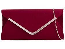 Burgundy Maroon Plain Suede Wedding Ladies Party Evening Clutch Hand Bag