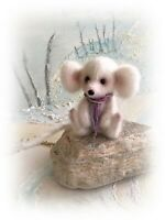"2 1/2"" Faux Fur Little Baby White Mouse OOAK jointed Artist  Bear one off Design"