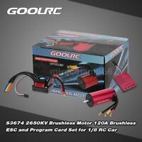 Original GoolRC S3674 2650KV Motor 120A ESC and Program Card for 1/8 RC Car W4O0