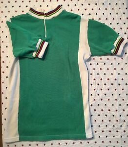 S Vintage 1970s FRENCH Acrylic CYCLING JERSEY EROICA Vegan GREEN Arc En Ciel UCI