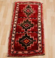 TURKISH RUG HAND KNOTTED CARPET RECTANGLE RED WOOL 30+ ANATOLIAN AREA RUG 2X3ft