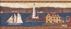 Early American Houses, Lighthouse and Sailboat on River   H3189B