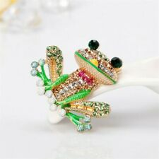 Yellow Gold Plated Colourful Crystal Rhinestone Frog Pin Brooch
