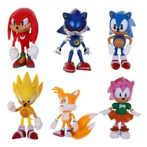 6 Pcs Sonic The Hedgehog PVC Action Figure Model Kids Gift Toy Cake Topper Decor