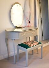 Louis Style Grey/ Beige Dressing Table and Stool - house of hackney velvet seat